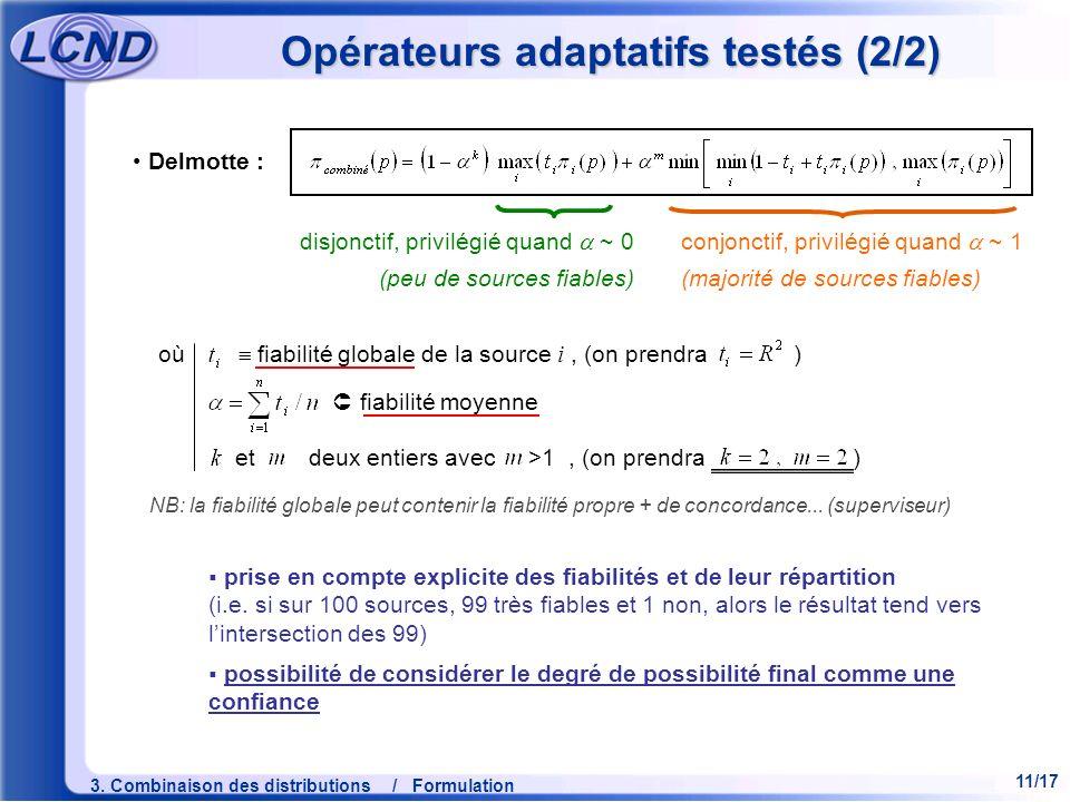11/17 3. Combinaison des distributions / Formulation Opérateurs adaptatifs testés (2/2) où fiabilité globale de la source i, (on prendra ) fiabilité m