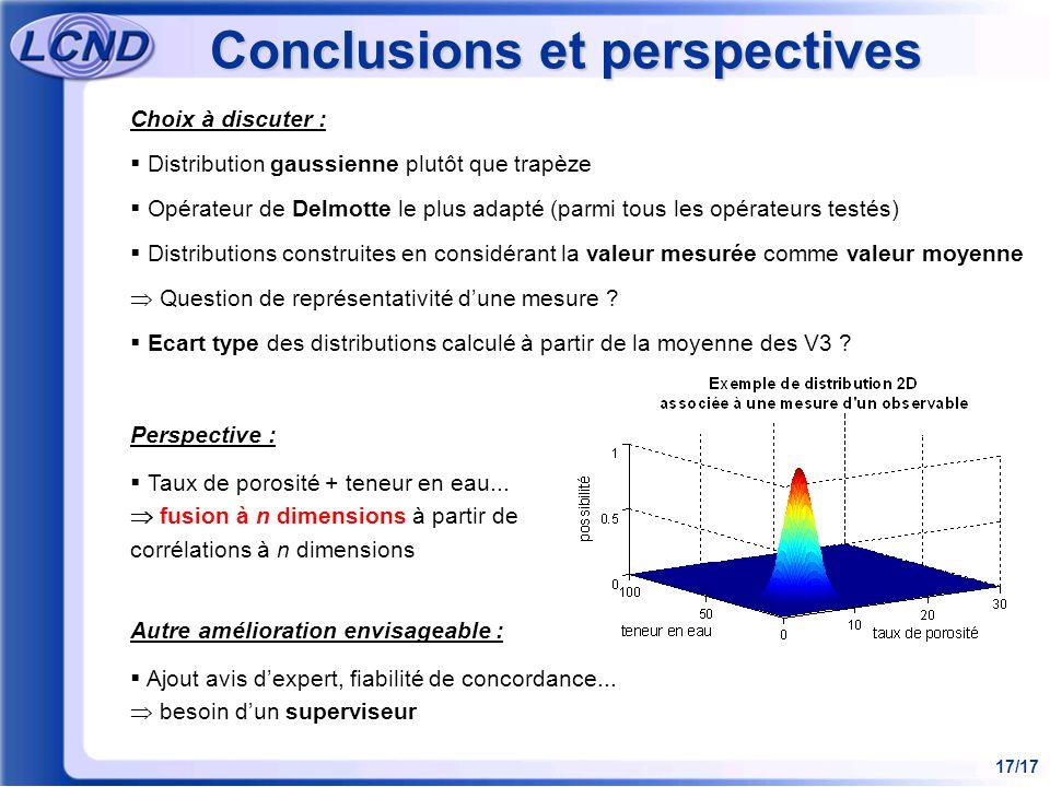 17/17 Conclusions et perspectives Choix à discuter : Distribution gaussienne plutôt que trapèze Opérateur de Delmotte le plus adapté (parmi tous les o
