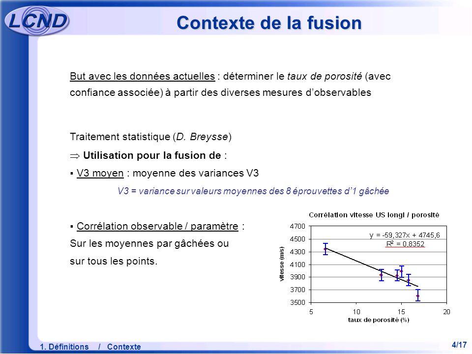 4/17 1. Définitions / Contexte Contexte de la fusion But avec les données actuelles : déterminer le taux de porosité (avec confiance associée) à parti