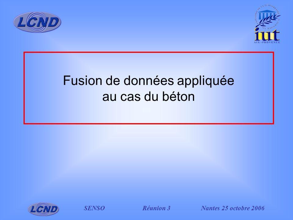 SENSO Réunion 3Nantes 25 octobre 2006 Fusion de données appliquée au cas du béton