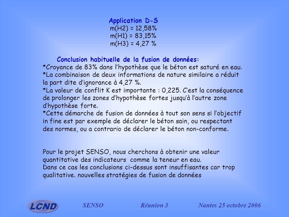 SENSO Réunion 3Nantes 25 octobre 2006 Conclusion habituelle de la fusion de données: *Croyance de 83% dans lhypothèse que le béton est saturé en eau.