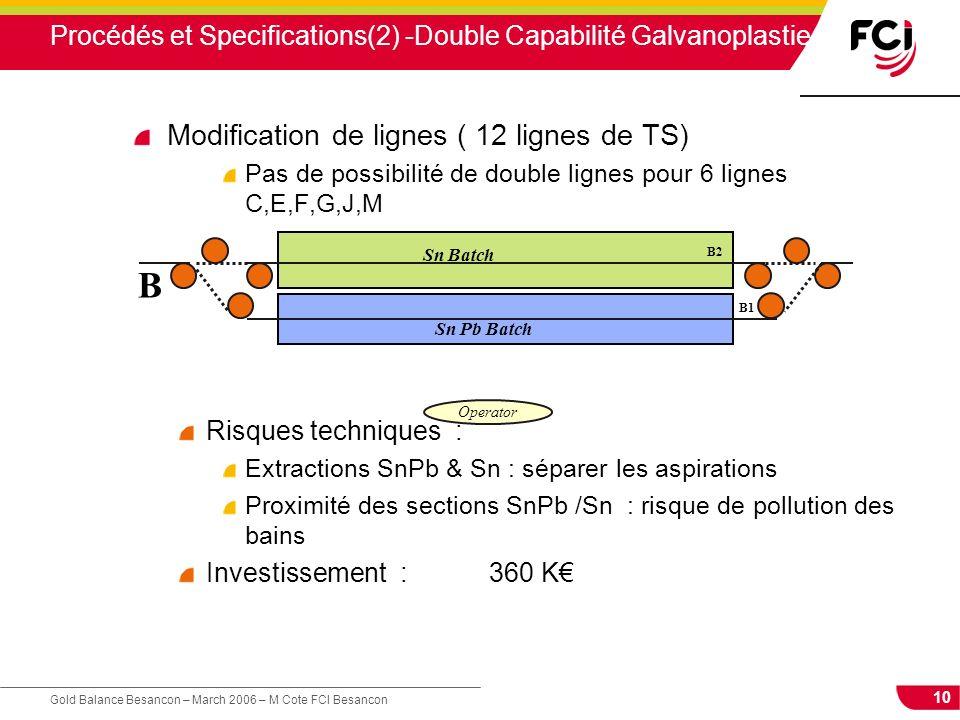 10 Gold Balance Besancon – March 2006 – M Cote FCI Besancon Procédés et Specifications(2) -Double Capabilité Galvanoplastie Modification de lignes ( 1