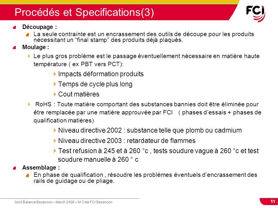 11 Gold Balance Besancon – March 2006 – M Cote FCI Besancon Procédés et Specifications(3) Découpage : La seule contrainte est un encrassement des outi