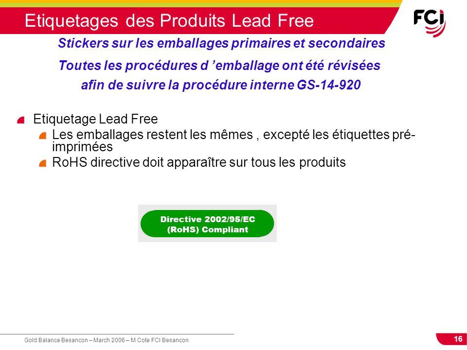 16 Gold Balance Besancon – March 2006 – M Cote FCI Besancon Etiquetages des Produits Lead Free Etiquetage Lead Free Les emballages restent les mêmes,