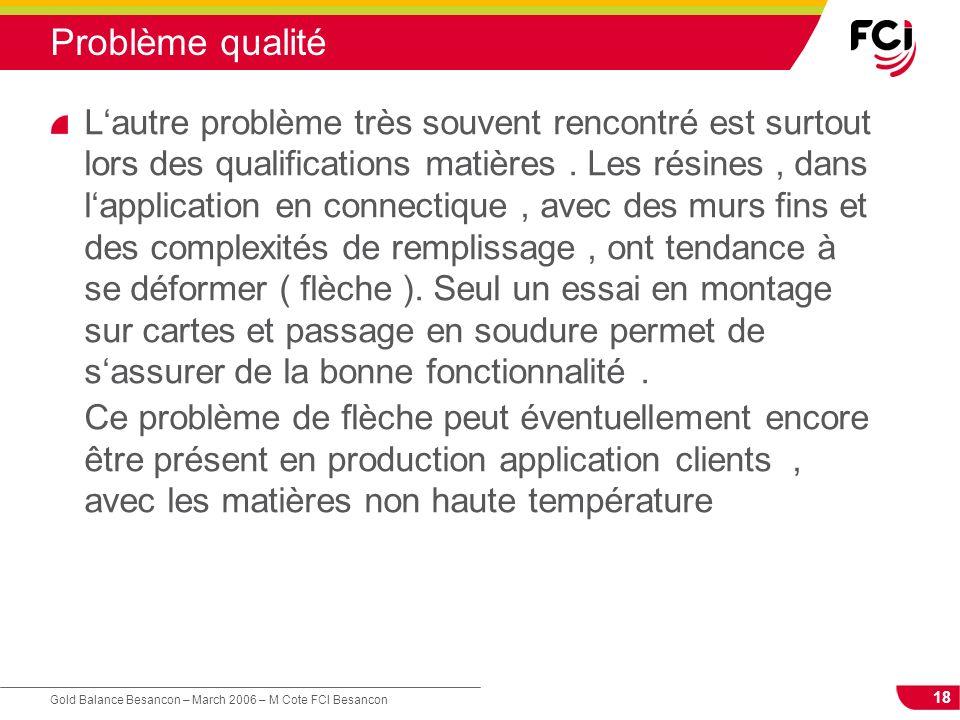 18 Gold Balance Besancon – March 2006 – M Cote FCI Besancon Problème qualité Lautre problème très souvent rencontré est surtout lors des qualification