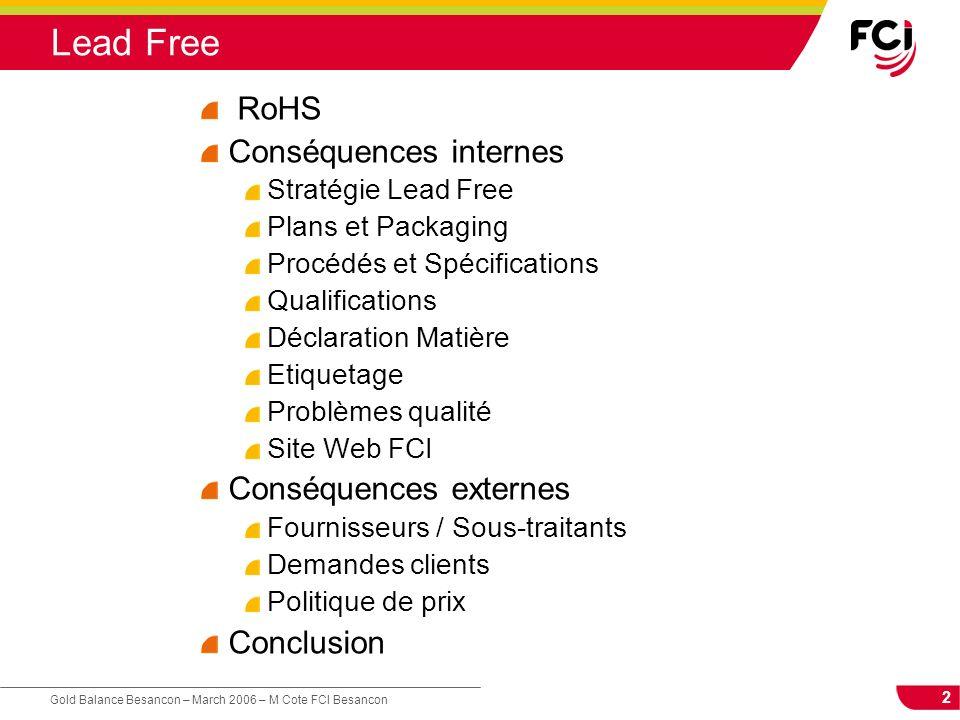 2 Gold Balance Besancon – March 2006 – M Cote FCI Besancon Lead Free RoHS Conséquences internes Stratégie Lead Free Plans et Packaging Procédés et Spé