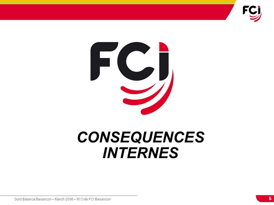 5 Gold Balance Besancon – March 2006 – M Cote FCI Besancon CONSEQUENCES INTERNES