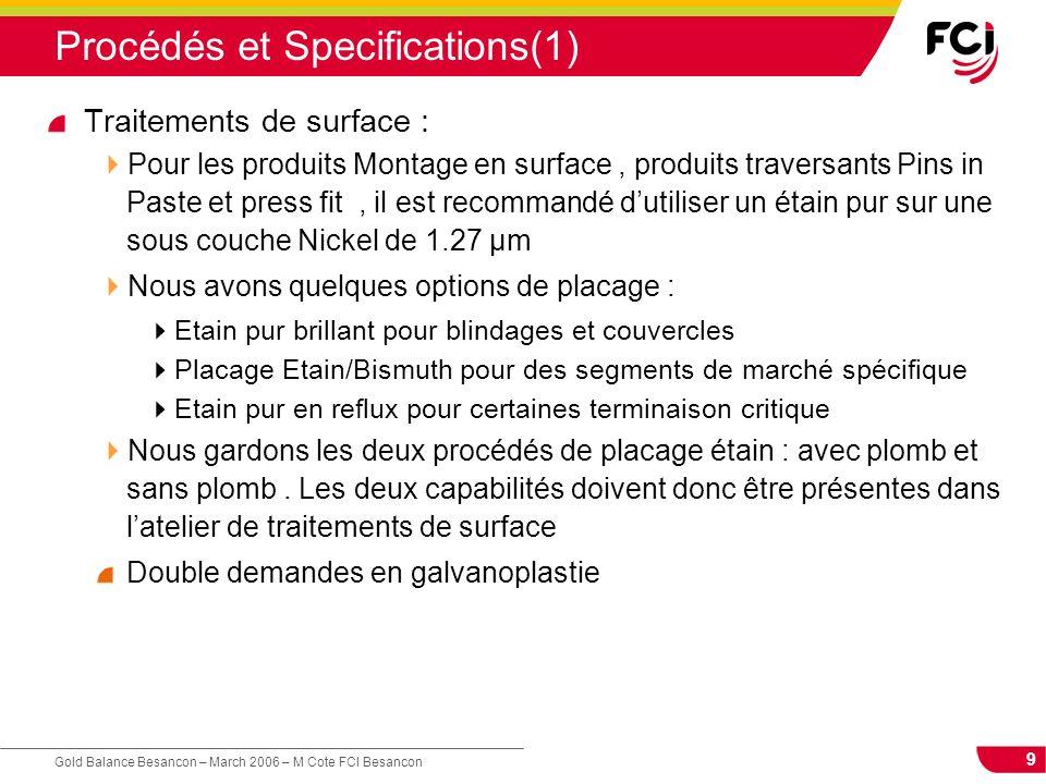 9 Gold Balance Besancon – March 2006 – M Cote FCI Besancon Procédés et Specifications(1) Traitements de surface : Pour les produits Montage en surface
