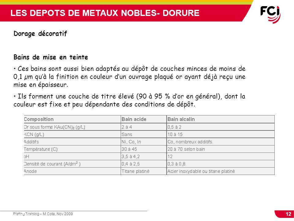 12 Plating Training – M Cote, Nov 2009 Cours : Les traitements de surface LES DEPOTS DE METAUX NOBLES- DORURE Dorage décoratif Bains de mise en teinte