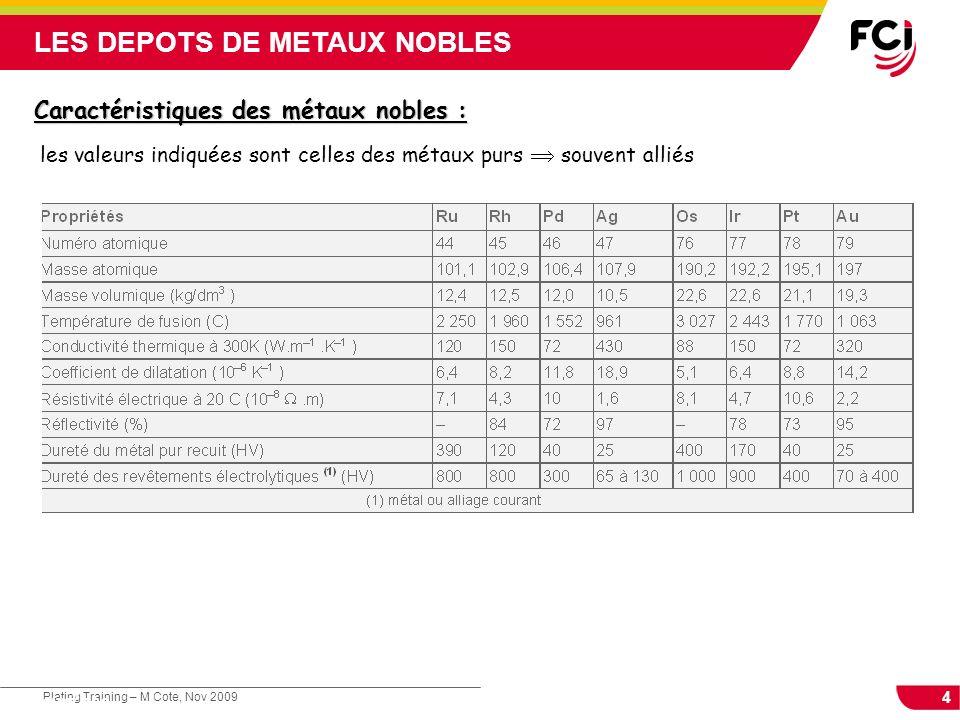 4 Plating Training – M Cote, Nov 2009 Cours : Les traitements de surface LES DEPOTS DE METAUX NOBLES Caractéristiques des métaux nobles : les valeurs