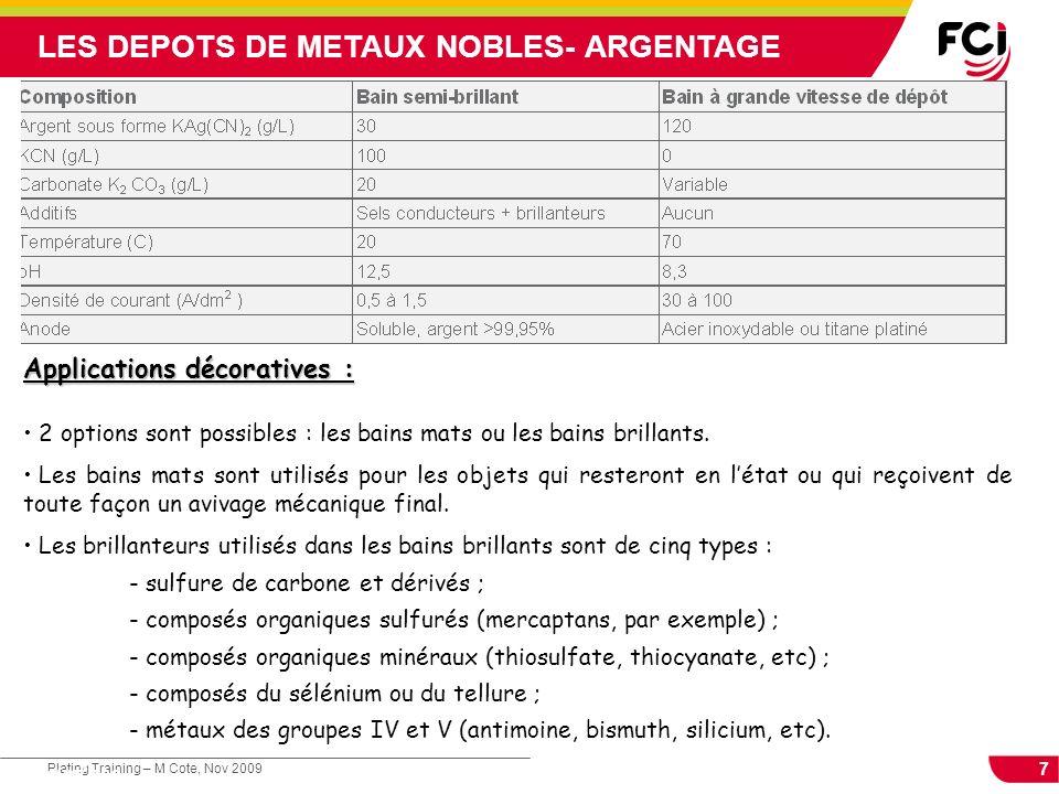 8 Plating Training – M Cote, Nov 2009 Cours : Les traitements de surface LES DEPOTS DE METAUX NOBLES Protection de lAg :.