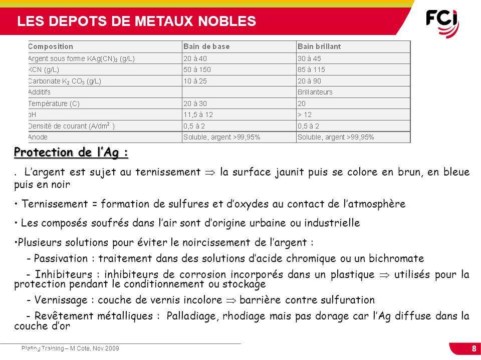 8 Plating Training – M Cote, Nov 2009 Cours : Les traitements de surface LES DEPOTS DE METAUX NOBLES Protection de lAg :. Largent est sujet au terniss
