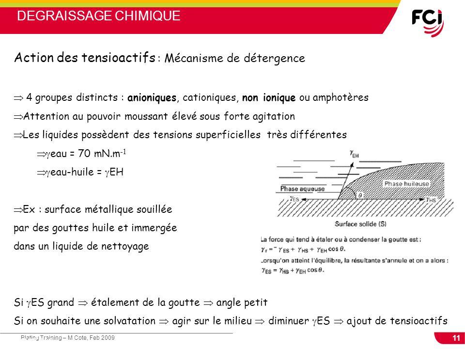 11 Plating Training – M Cote, Feb 2009 Cours : Les traitements de surface 4 groupes distincts : anioniques, cationiques, non ionique ou amphotères Att