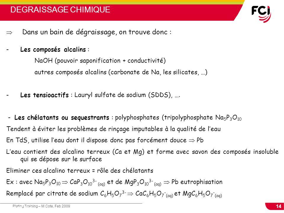 14 Plating Training – M Cote, Feb 2009 Cours : Les traitements de surface Dans un bain de dégraissage, on trouve donc : -Les composés alcalins : NaOH