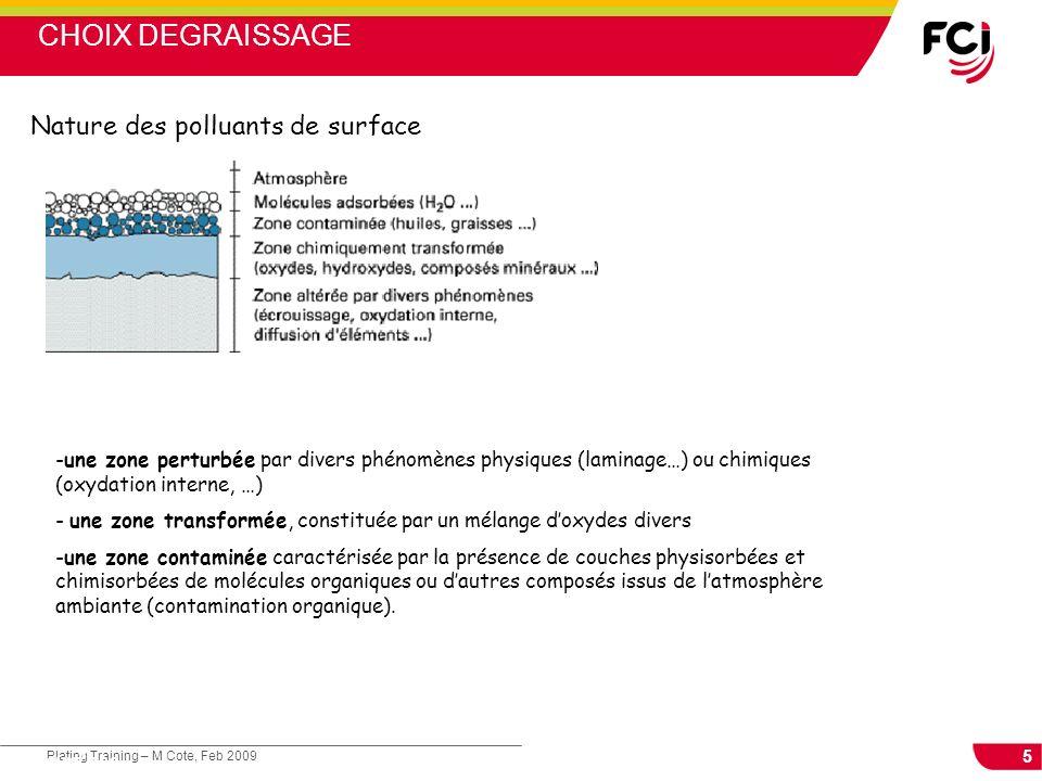 5 Plating Training – M Cote, Feb 2009 Cours : Les traitements de surface Nature des polluants de surface -une zone perturbée par divers phénomènes phy