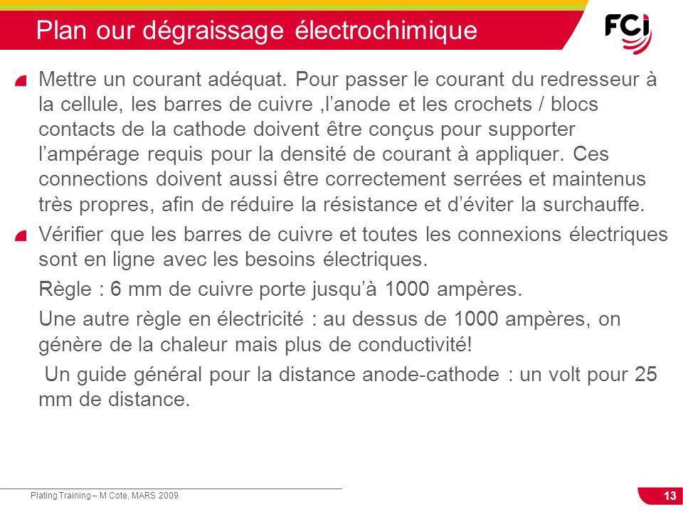 13 Plating Training – M Cote, MARS 2009 Plan our dégraissage électrochimique Mettre un courant adéquat. Pour passer le courant du redresseur à la cell
