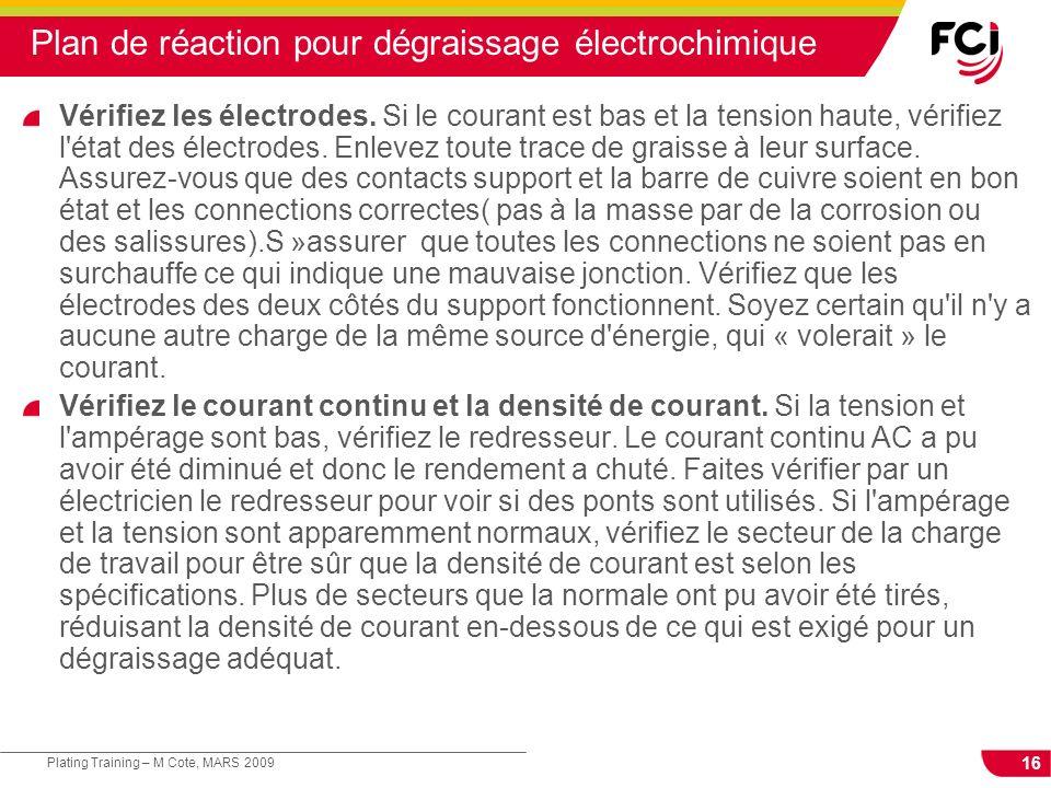 16 Plating Training – M Cote, MARS 2009 Plan de réaction pour dégraissage électrochimique Vérifiez les électrodes. Si le courant est bas et la tension
