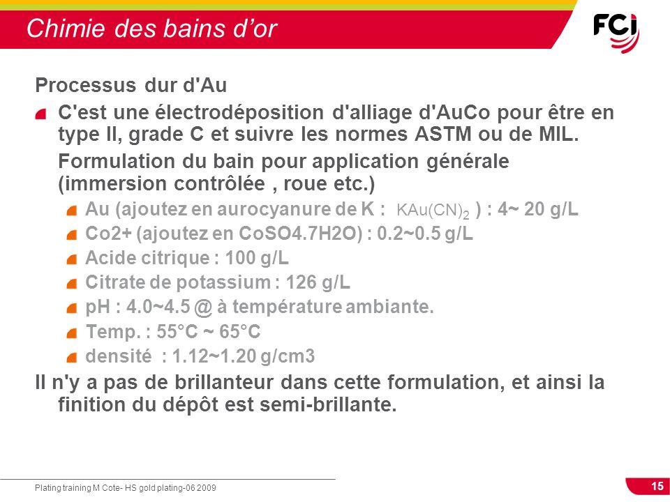 15 Plating training M Cote- HS gold plating-06 2009 Chimie des bains dor Processus dur d'Au C'est une électrodéposition d'alliage d'AuCo pour être en