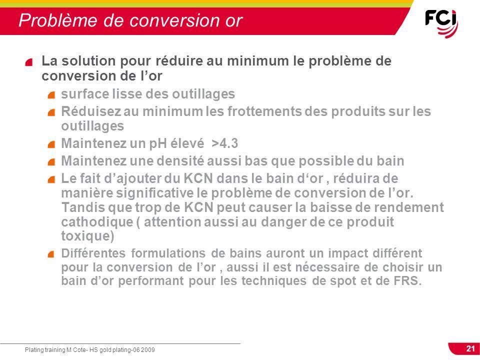 21 Plating training M Cote- HS gold plating-06 2009 Problème de conversion or La solution pour réduire au minimum le problème de conversion de lor sur