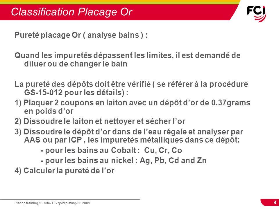 4 Plating training M Cote- HS gold plating-06 2009 Classification Placage Or Pureté placage Or ( analyse bains ) : Quand les impuretés dépassent les l