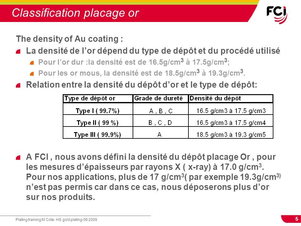 5 Plating training M Cote- HS gold plating-06 2009 Classification placage or The density of Au coating : La densité de lor dépend du type de dépôt et