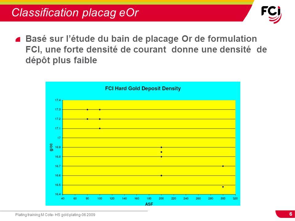 6 Plating training M Cote- HS gold plating-06 2009 Classification placag eOr Basé sur létude du bain de placage Or de formulation FCI, une forte densi