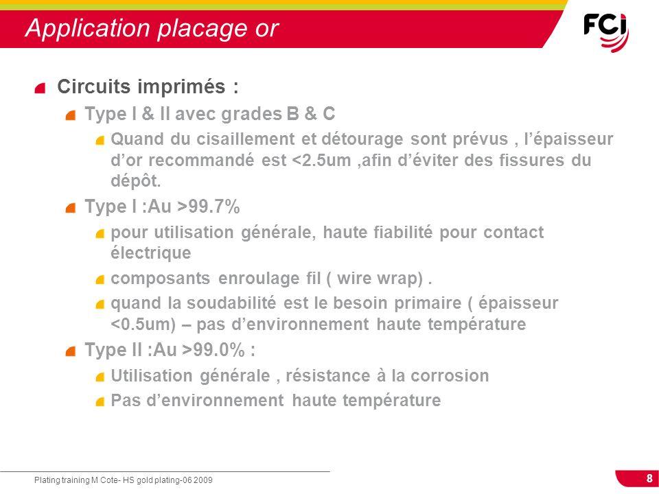 8 Plating training M Cote- HS gold plating-06 2009 Application placage or Circuits imprimés : Type I & II avec grades B & C Quand du cisaillement et d