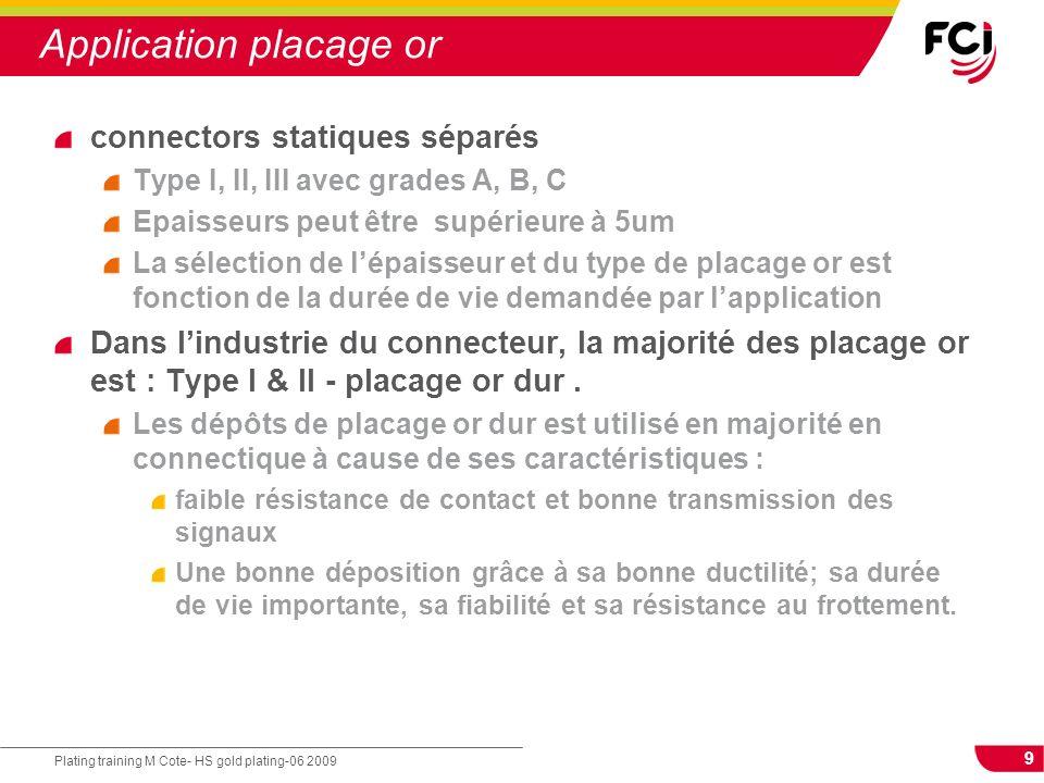 9 Plating training M Cote- HS gold plating-06 2009 Application placage or connectors statiques séparés Type I, II, III avec grades A, B, C Epaisseurs