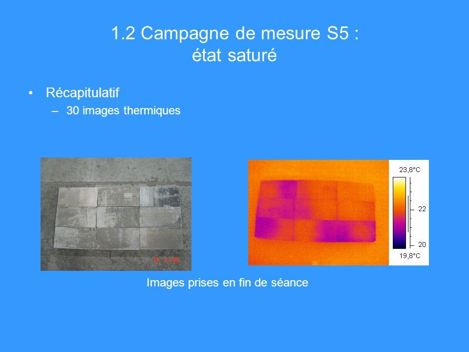 1.2 Campagne de mesure S5 : état saturé Récapitulatif –30 images thermiques Images prises en fin de séance