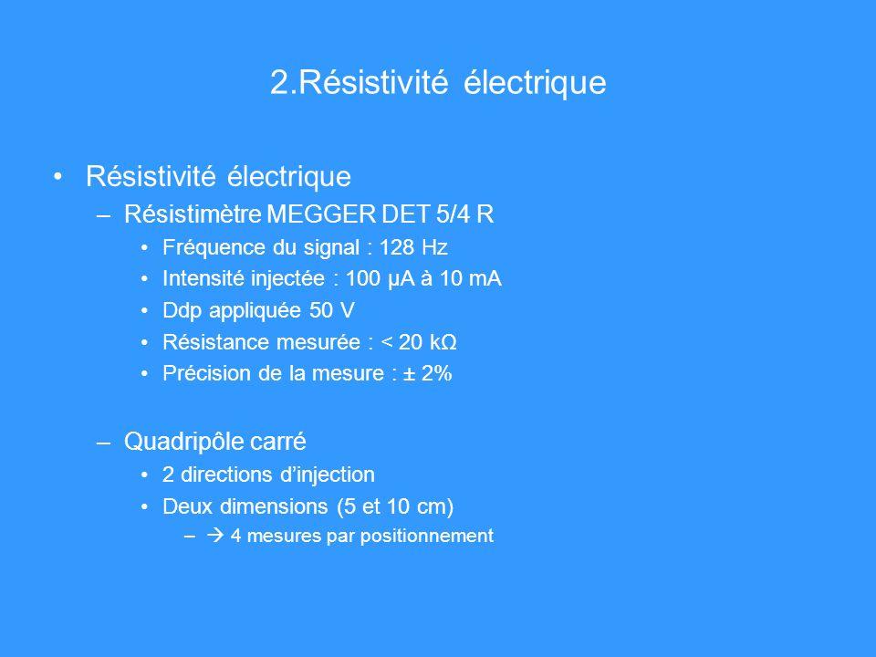 2.Résistivité électrique Résistivité électrique –Résistimètre MEGGER DET 5/4 R Fréquence du signal : 128 Hz Intensité injectée : 100 μA à 10 mA Ddp appliquée 50 V Résistance mesurée : < 20 kΩ Précision de la mesure : ± 2% –Quadripôle carré 2 directions dinjection Deux dimensions (5 et 10 cm) – 4 mesures par positionnement
