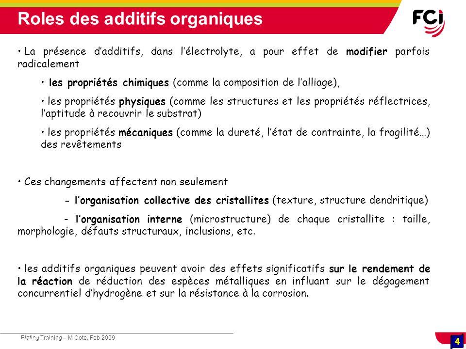 4 Plating Training – M Cote, Feb 2009 4 Cours : Les traitements de surface La présence dadditifs, dans lélectrolyte, a pour effet de modifier parfois