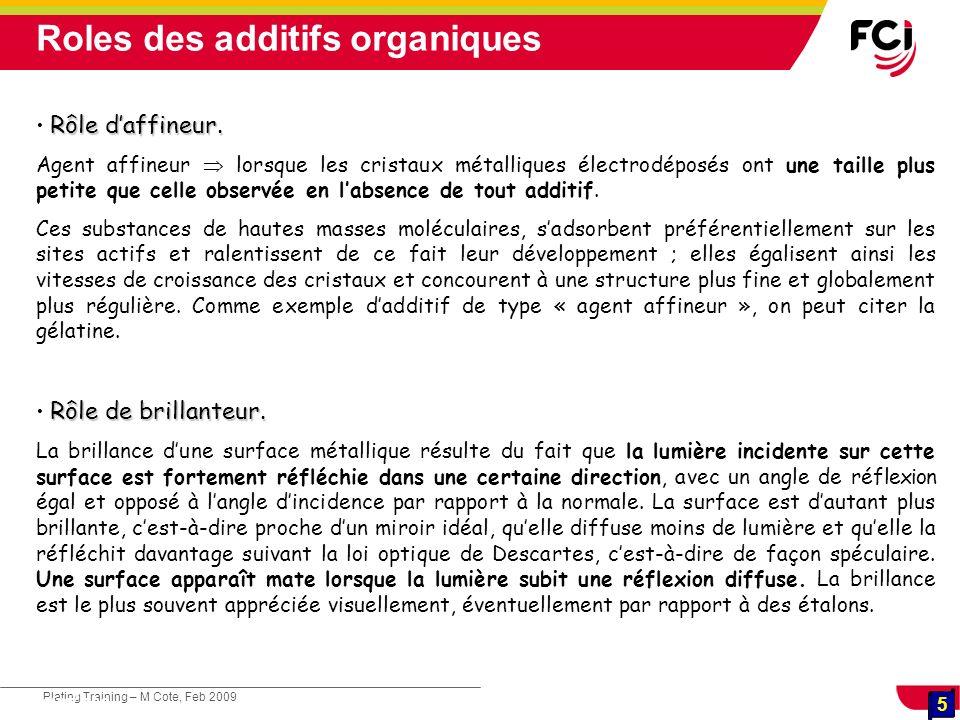 5 Plating Training – M Cote, Feb 2009 5 Cours : Les traitements de surface Rôle daffineur. Agent affineur lorsque les cristaux métalliques électrodépo
