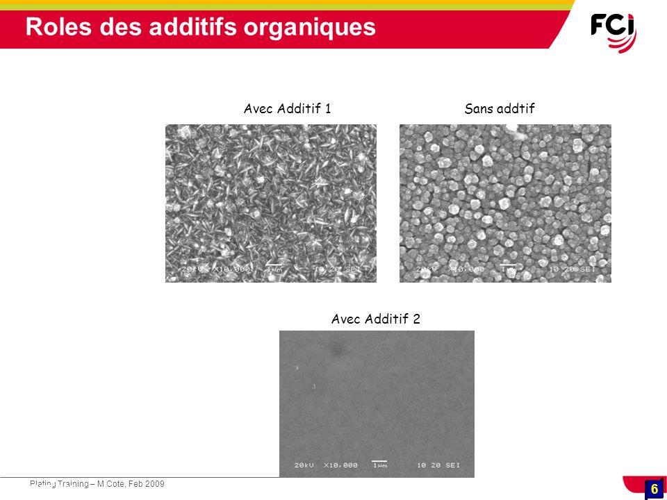 6 Plating Training – M Cote, Feb 2009 6 Cours : Les traitements de surface Sans addtifAvec Additif 1 Avec Additif 2 Roles des additifs organiques