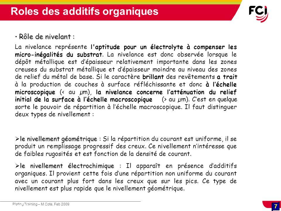 7 Plating Training – M Cote, Feb 2009 7 Cours : Les traitements de surface Rôle de nivelant : La nivelance représente l'aptitude pour un électrolyte à