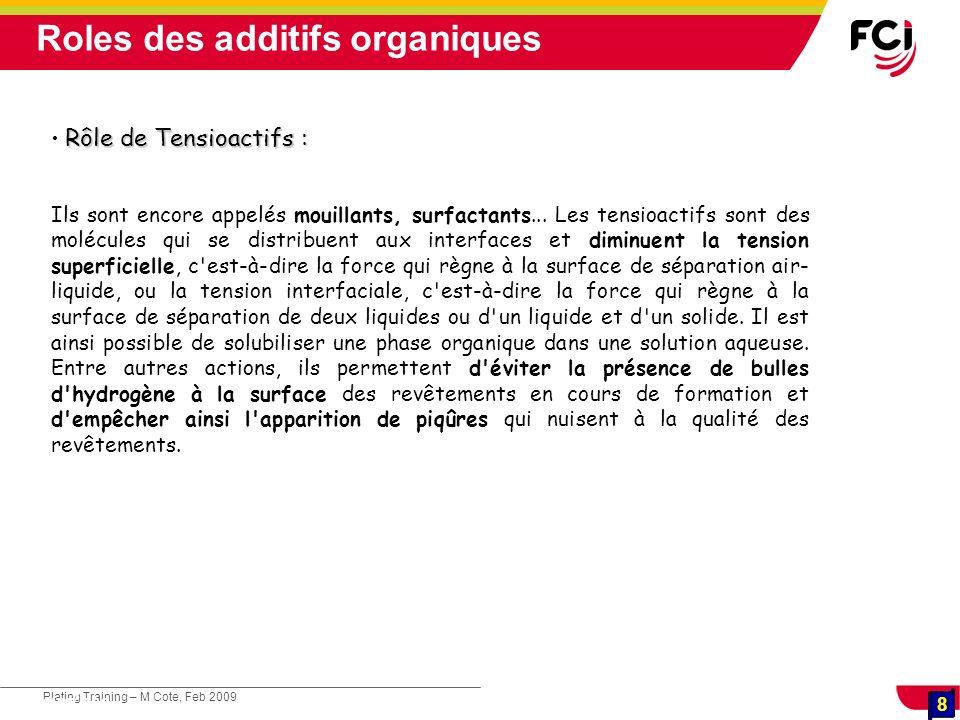 8 Plating Training – M Cote, Feb 2009 8 Cours : Les traitements de surface Rôle de Tensioactifs : Ils sont encore appelés mouillants, surfactants... L