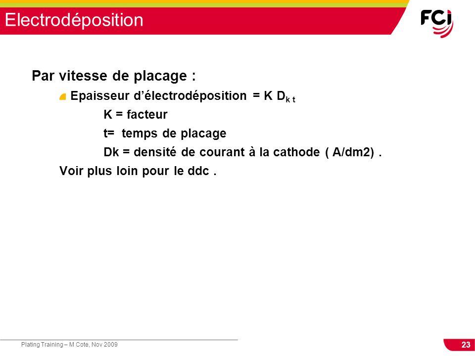 23 Plating Training – M Cote, Nov 2009 Electrodéposition Par vitesse de placage : Epaisseur délectrodéposition = K D k t K = facteur t= temps de placa