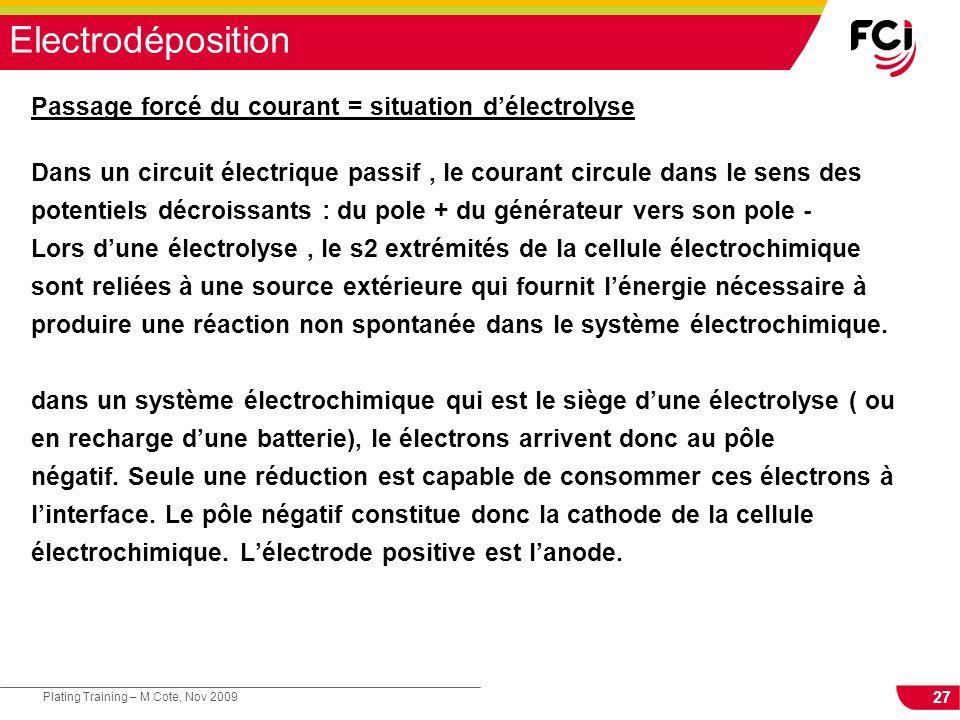 27 Plating Training – M Cote, Nov 2009 Electrodéposition Passage forcé du courant = situation délectrolyse Dans un circuit électrique passif, le coura