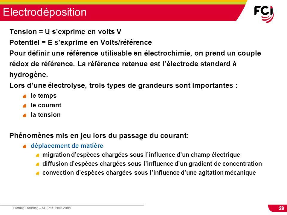 29 Plating Training – M Cote, Nov 2009 Electrodéposition Tension = U sexprime en volts V Potentiel = E sexprime en Volts/référence Pour définir une ré