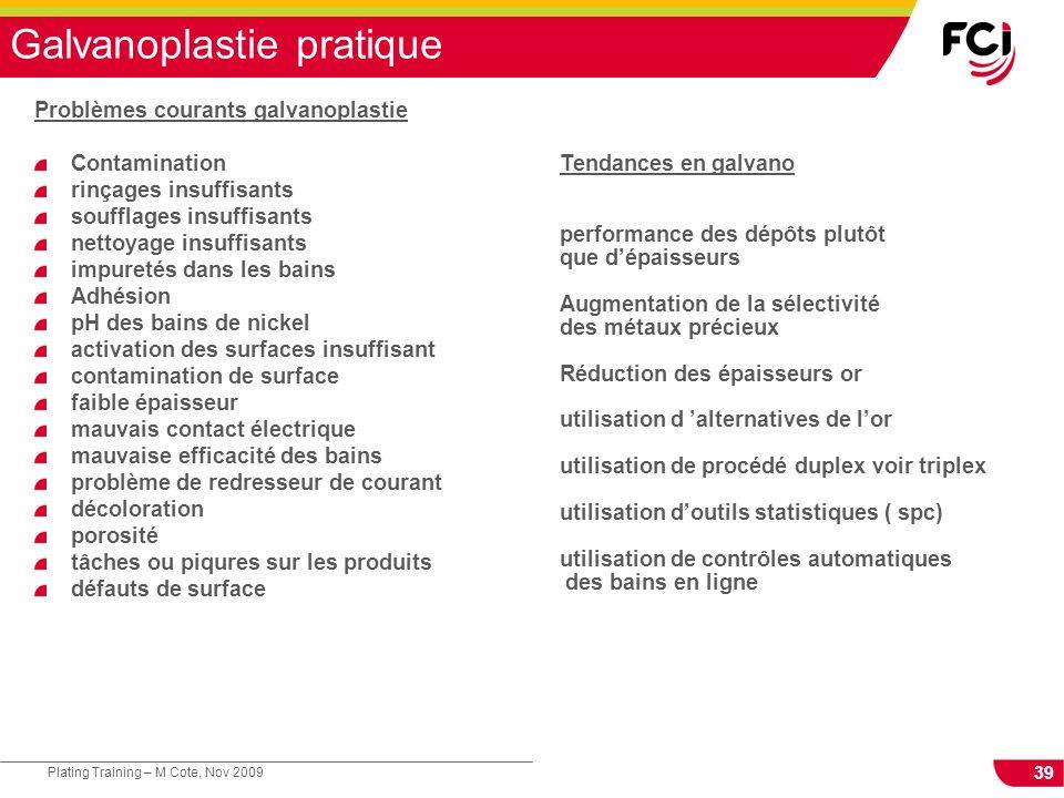 39 Plating Training – M Cote, Nov 2009 Galvanoplastie pratique Problèmes courants galvanoplastie Contamination rinçages insuffisants soufflages insuff