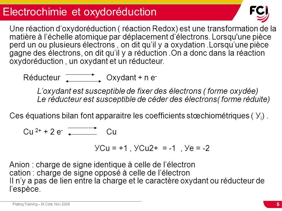 26 Plating Training – M Cote, Nov 2009 Electrodéposition Lélectrochimie implique la mise en contact de différents matériaux conducteurs électriques.