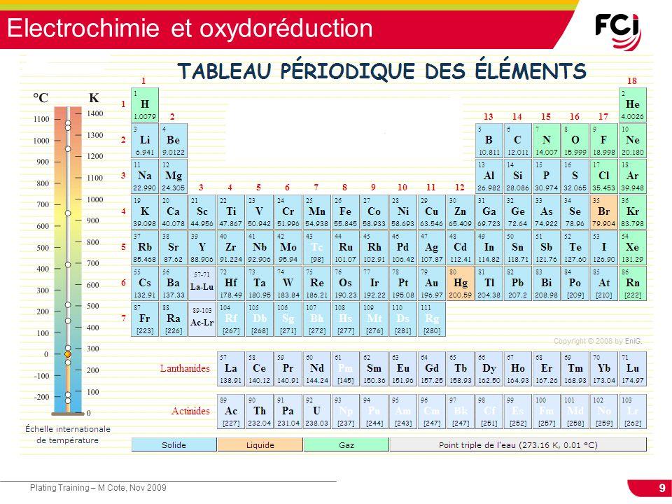 10 Plating Training – M Cote, Nov 2009 Electrochimie et oxydoréduction