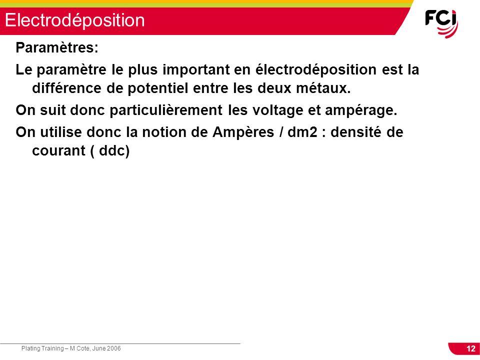 12 Plating Training – M Cote, June 2006 Electrodéposition Paramètres: Le paramètre le plus important en électrodéposition est la différence de potentiel entre les deux métaux.