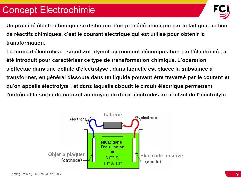 9 Plating Training – M Cote, June 2006 Concept Electrochimie Un procédé électrochimique se distingue d un procédé chimique par le fait que, au lieu de réactifs chimiques, c est le courant électrique qui est utilisé pour obtenir la transformation.
