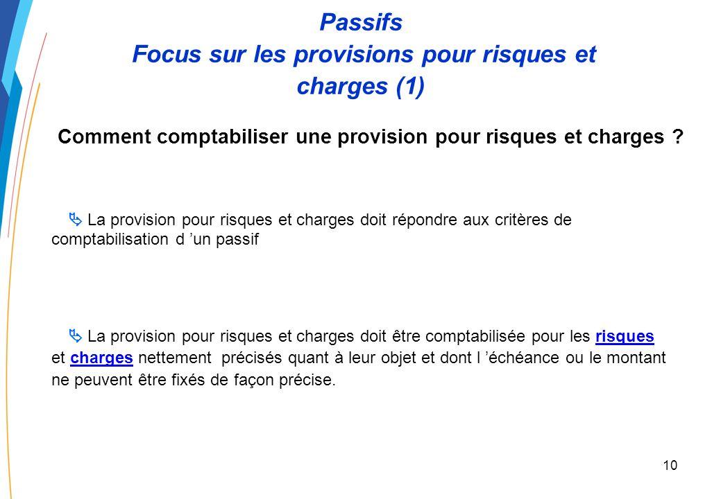 9 Passifs Critères de comptabilisation (4) Comment comptabiliser un passif ? Le passif doit être évalué avec une fiabilité suffisante Principe Excepti