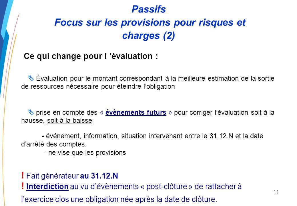 10 Passifs Focus sur les provisions pour risques et charges (1) Comment comptabiliser une provision pour risques et charges ? La provision pour risque