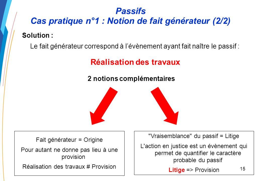 14 Passifs Cas pratique n°1 : Notion de fait générateur (1/2) Énoncé : Dans le cadre de réalisation de travaux, un EPN fait appel à un fournisseur en