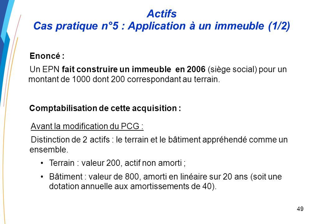 48 Actifs Composants – Approche méthodologique (2/2) Étape 1 : Analyse des immobilisations Ventilation des immobilisations permettant de distinguer le