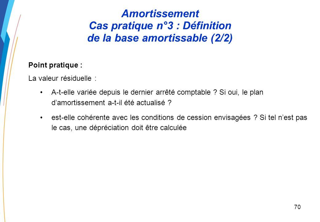 69 Amortissement Cas pratique n°3 : Définition de la base amortissable (1/2) Un EPN a acquis des containers dun prix de 300 en 2006. Lutilisation de c