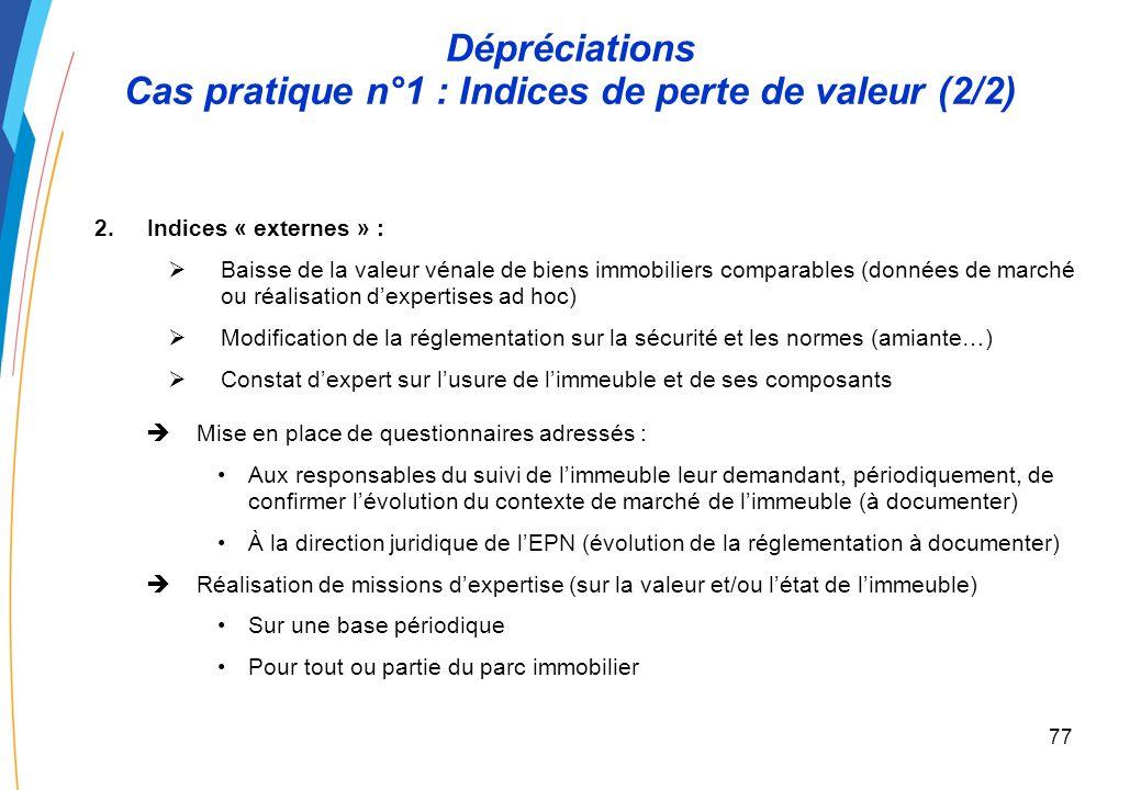 76 Dépréciations Cas pratique n°1 : Indices de perte de valeur (1/2) Un EPN a acquis un immeuble. Quels sont les indicateurs de perte de valeur que lE