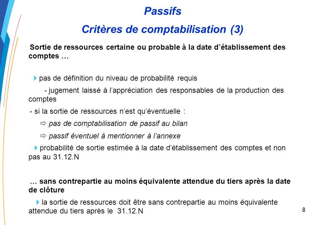 7 Passifs Critères de comptabilisation (2) Ce qui change : une obligation à la date de clôture de lexercice obligation qui existe au 31.12.N si loblig